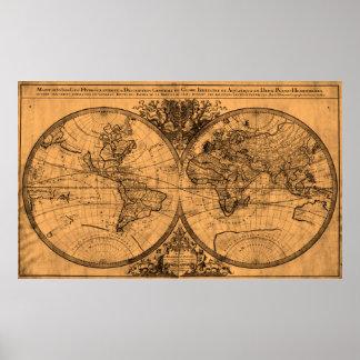 World Map (1691) Light Brown & Black Poster