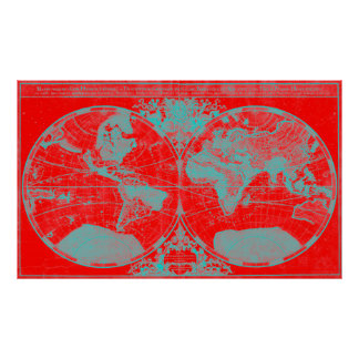 World Map (1691) Red & Light Blue Poster