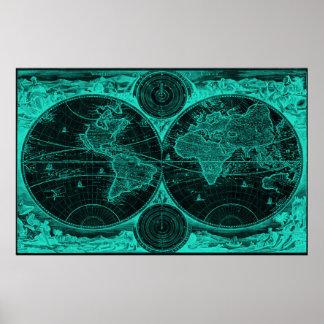 World Map (1730) Black & Light Blue Poster