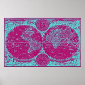 World Map (1730) Pink & Light Blue Poster