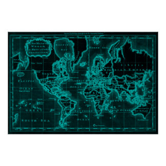 World Map (1766) Black & Light Blue Poster