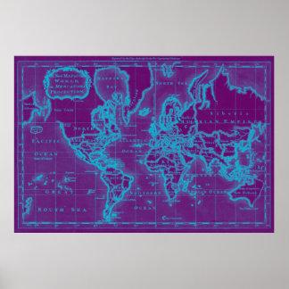 World Map (1766) Purple & Light Blue Poster