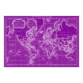 World Map (1766) Purple & White Poster