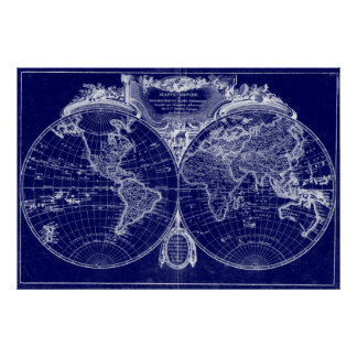 World Map (1775) Blue & White Poster