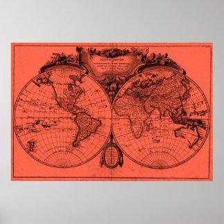 World Map (1775) Light Red & Black Poster