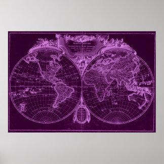 World Map (1775) Purple & Light Purple Poster
