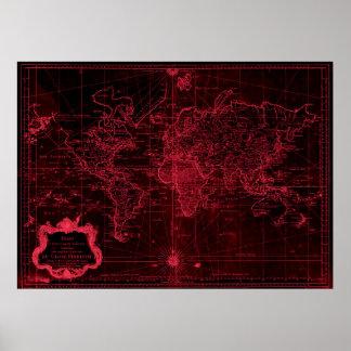World Map (1778) Black & Light Red Poster