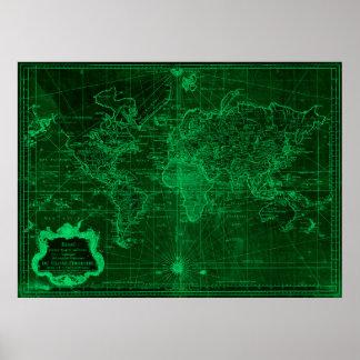 World Map (1778) Dark Green & Light Green Poster