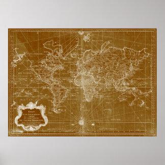 World Map (1778) Light Brown & White Poster