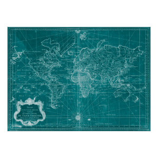 World Map (1778) Turquoise & White Poster
