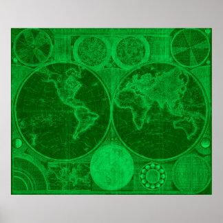 World Map (1794) Green & Light Green Poster