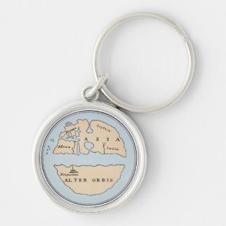WORLD MAP, 1ST CENTURY Silver-Colored ROUND KEY RING