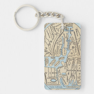 WORLD MAP 2ND CENTURY Double-Sided RECTANGULAR ACRYLIC KEY RING