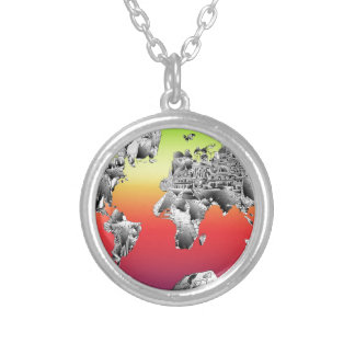 world map 4 silver plated necklace