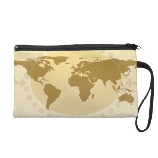 World Map 5 Wristlet Clutches