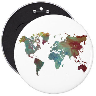 world map 6 cm round badge