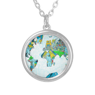 world map 6 silver plated necklace