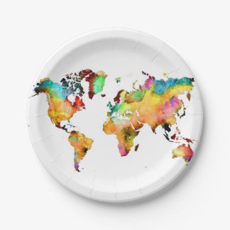 world map 7 inch paper plate