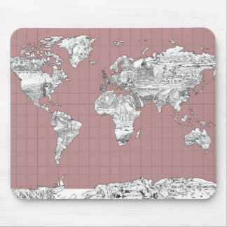 world map 8 mouse pad