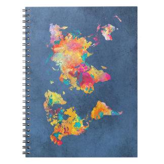 world map 8 spiral notebook