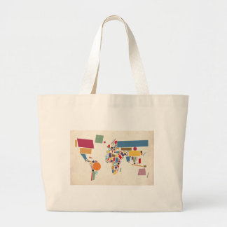World Map Abstract Large Tote Bag