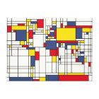 World Map Abstract Mondrian Style Canvas Print