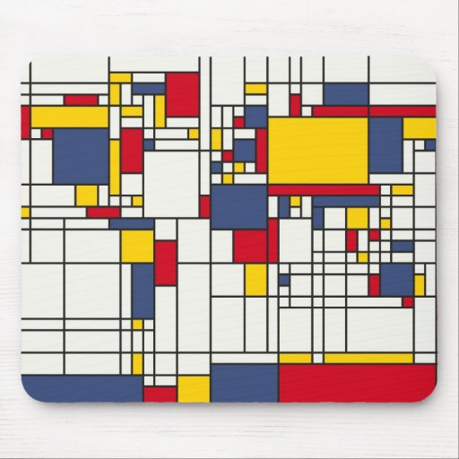 World Map Abstract Mondrian Style Mousepads