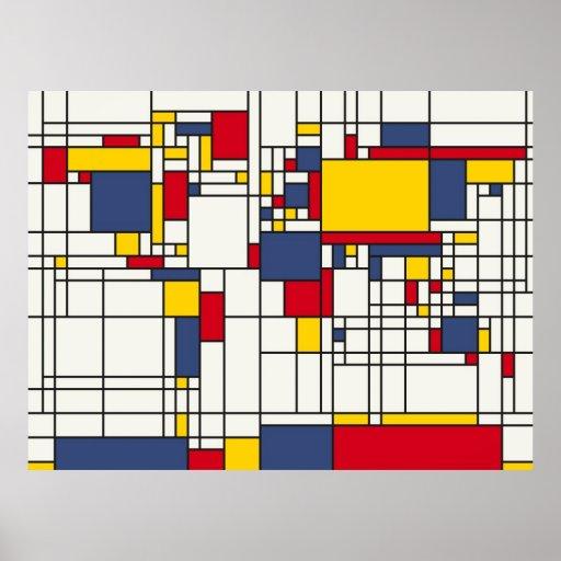 World Map Abstract Mondrian Style Print