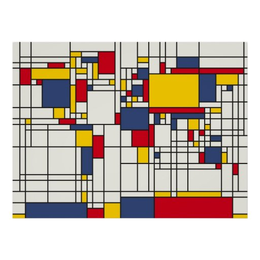 World Map Abstract Mondrian Style Posters