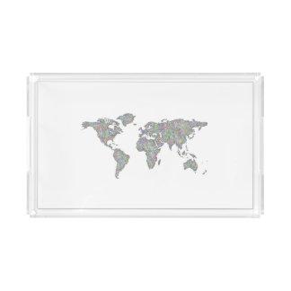 World map acrylic tray