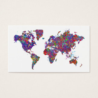 World Map, Action Painting Business Card