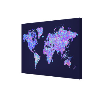 World Map, Action Painting Stretched Canvas Prints
