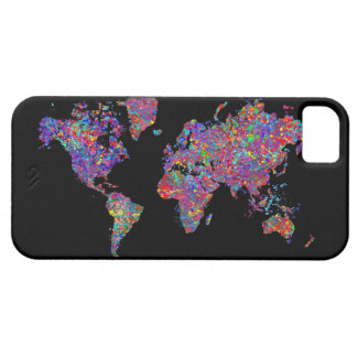 World Map, Action Painting iPhone 5 Cover