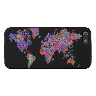 World Map, Action Painting Covers For iPhone 5