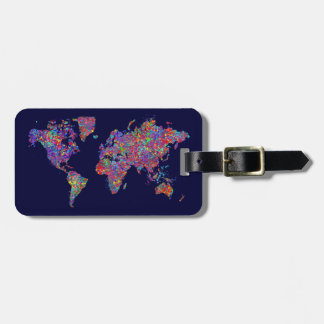 World Map, Action Painting Luggage Tag