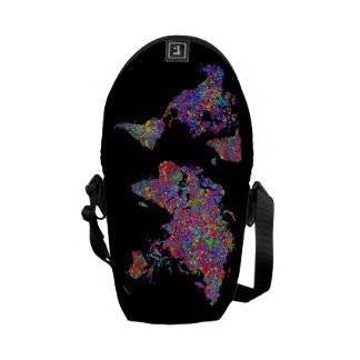 World Map, Action Painting Courier Bag