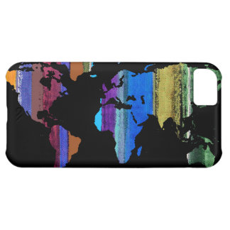 world map and color stripes iPhone 5C case