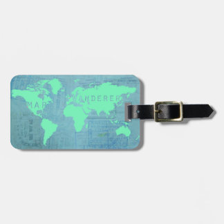 World Map and Passport Stamps (Map Wanderer) Luggage Tag