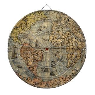 World Map Antique 1500 art print artwork Dartboard