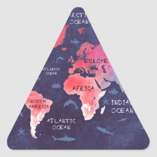 world map art triangle sticker