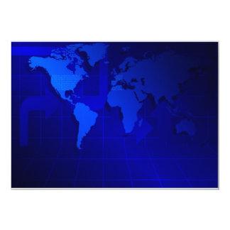 World Map Background 13 Cm X 18 Cm Invitation Card