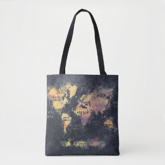 world map bag black