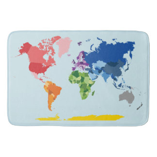 World Map Bath Mat Bath Mats