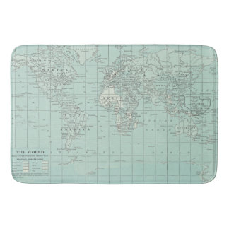 World Map Bath Mat Teal Bath Mats