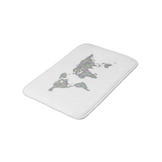 World map bath mats