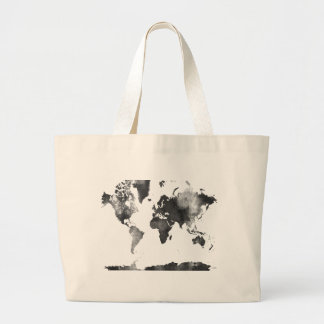 WORLD MAP BLACK and WHITE Large Tote Bag