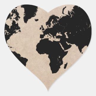 world map black heart sticker