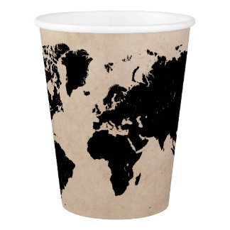world map black paper cup