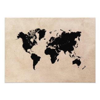 world map black photo print