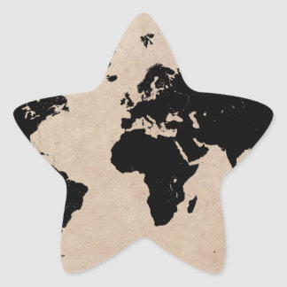 world map black star sticker